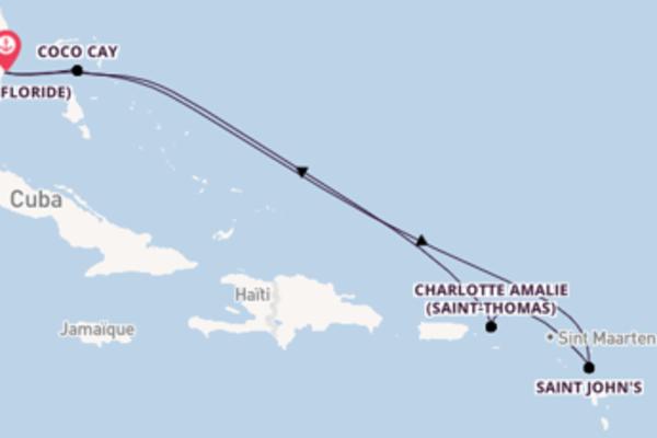8 jours pour découvrir Charlotte Amalie (Saint-Thomas) au départ de Miami (Floride)