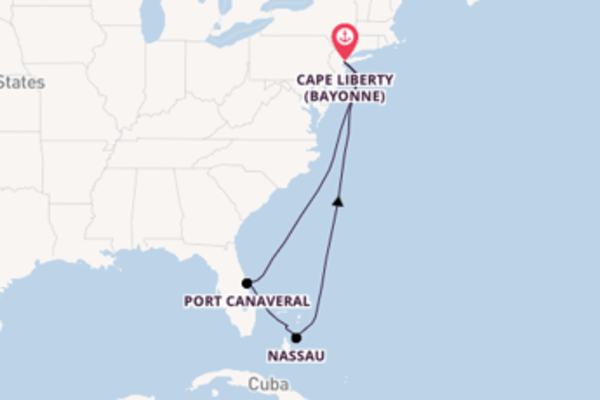 Cruising from Cape Liberty , New Jersey via Port Canaveral