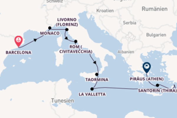 In 13 Tagen nach Piräus (Athen)
