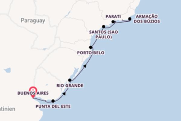Buenos Aires, Rio Grande und Rio de Janeiro entdecken