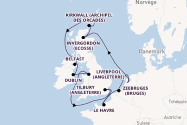 Kirkwall (Archipel des Orcades), depuis Amsterdam à bord du bateau Norwegian Jade