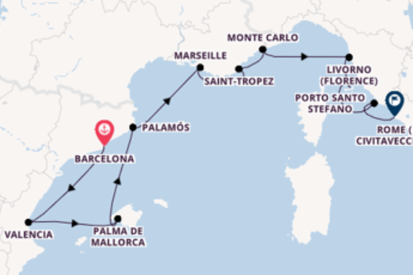 11 day cruise to Rome (Civitavecchia) from Barcelona