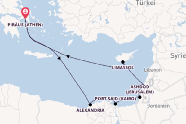 In 12 Tagen nach Piräus (Athen) über Ashdod (Jerusalem)