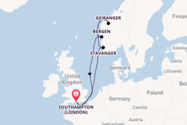 Navigando da Southampton (London) verso Stavanger