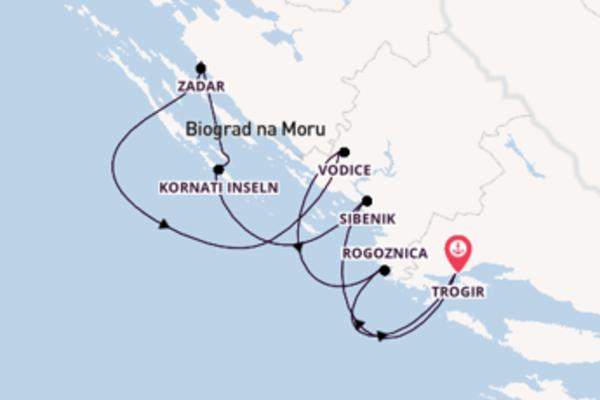 Spannende Kreuzfahrt über Sibenik nach Trogir