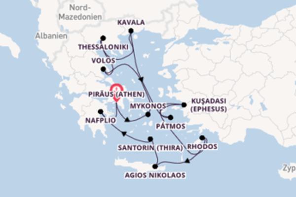 Einzigartige Kreuzfahrt über Santorin (Thira) ab Piräus (Athen)