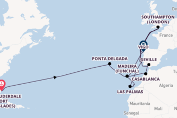 29 day voyage to Southampton (London) from Fort Lauderdale (Port Everglades)