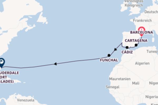 In 15 Tagen nach Fort Lauderdale (Port Everglades) über Lissabon