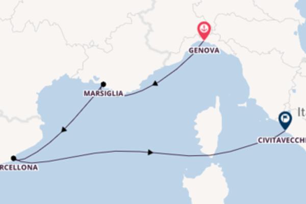 Prendere il largo verso Civitavecchia da Genova