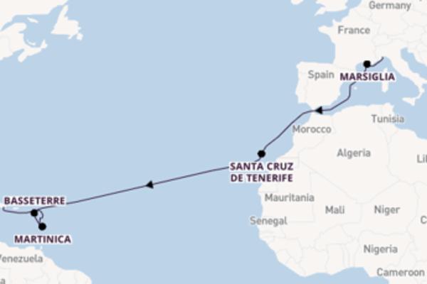 Romantica crociera da Savona verso Martinica