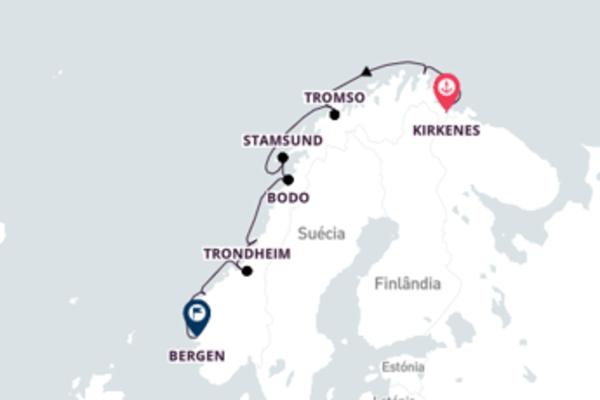 Navegando pela costa da Noruega