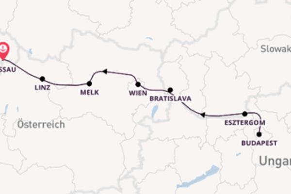 Donaufahrt zwischen Passau und Budapest