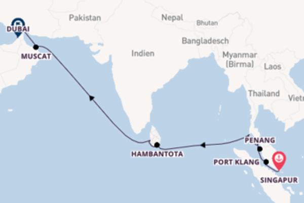 Wunderbare Kreuzfahrt über Colombo ab Singapur