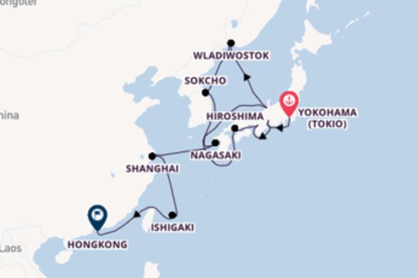 Zwischen Tokio und Hongkong inkl. Flug