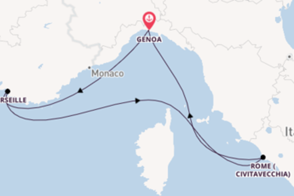 4 day cruise with the MSC Splendida to Genoa