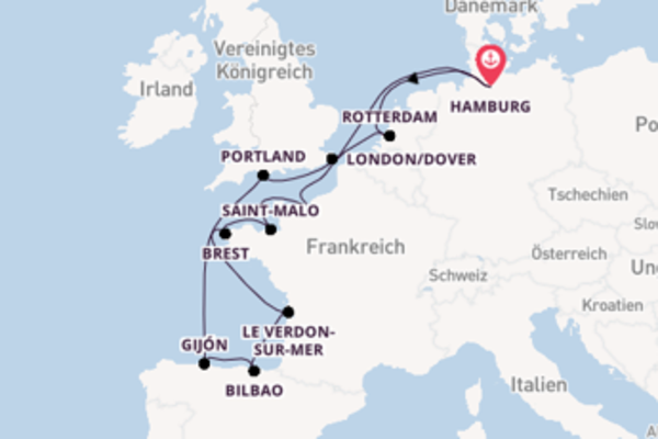 Einzigartige Kreuzfahrt über Portland ab Hamburg