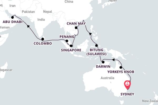 Cruising from Sydney to Dubai 37-Day Escape
