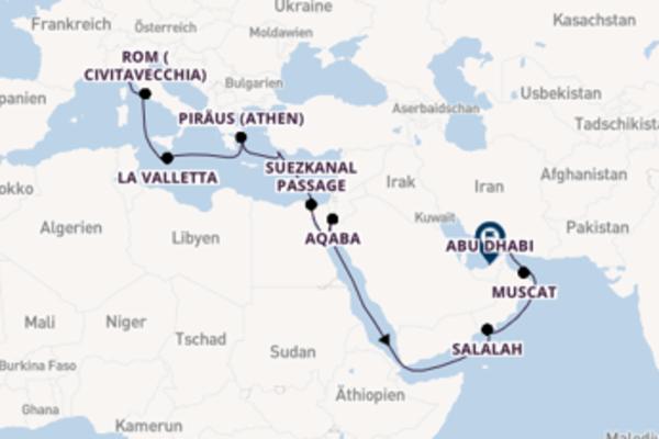 Großartige Kreuzfahrt über Salalah ab Genua