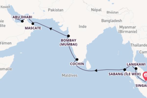 19 jours de navigation à bord du bateau Seabourn Ovation vers Dubaï