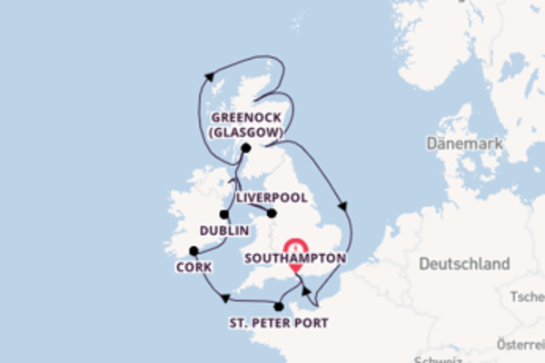 Wunderbare Kreuzfahrt über Cork ab Southampton