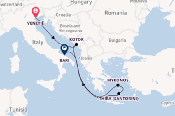 Verken Venetië, Mykonos en Bari