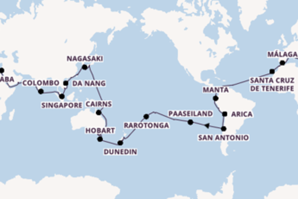 Cruise naar Civitavecchia (Rome) via Rarotonga