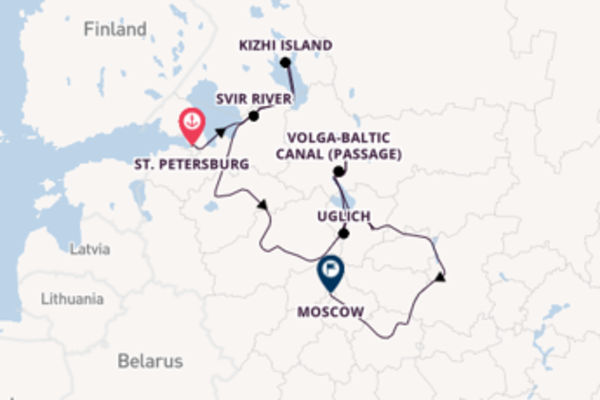 Cruise from St. Petersburg to Moscow via Moscow