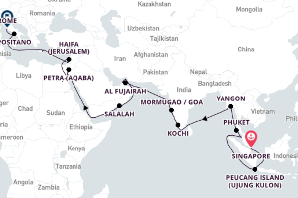 Sailing from Singapore to Rome 39-Day Escape