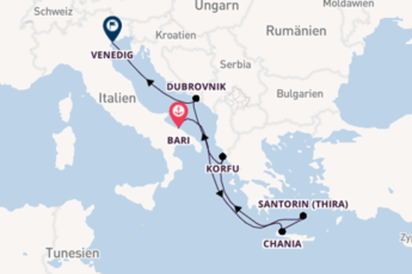 Bari, Korfu und Venedig entdecken