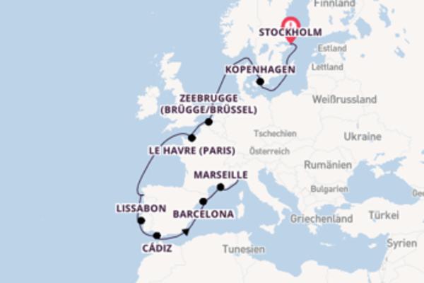 Von Stockholm über Le Havre (Paris) in 16 Tagen
