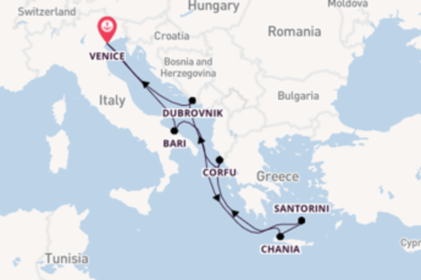 Sailing from Venice via Santorini