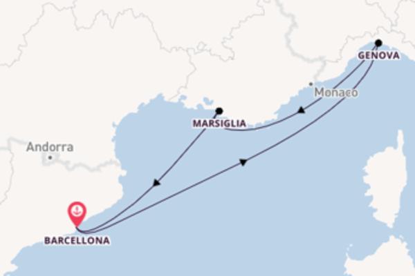 Viaggio da Barcellona verso Genova