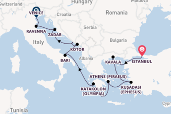 Cruise from Istanbul to Venice via Zadar