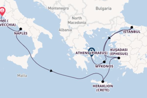 Cruising from Rome (Civitavecchia) to Athens (Piraeus)