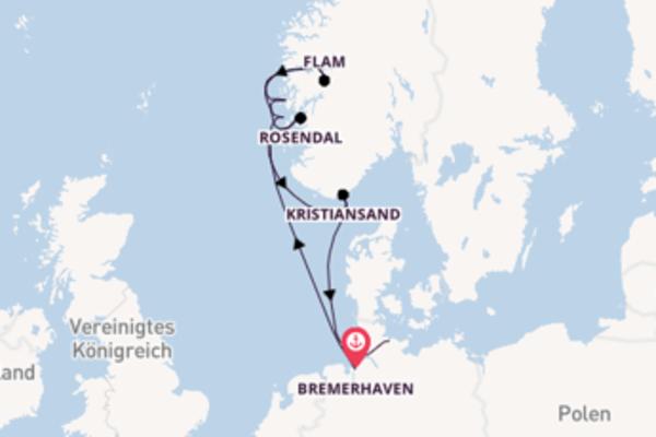 Beeindruckende Kreuzfahrt über Bergen nach Kiel