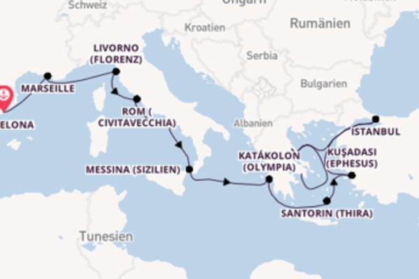 Barcelona, Rom (Civitavecchia) und Piräus (Athen) entdecken