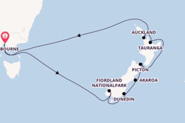 In 14 Tagen nach Melbourne über Dunedin