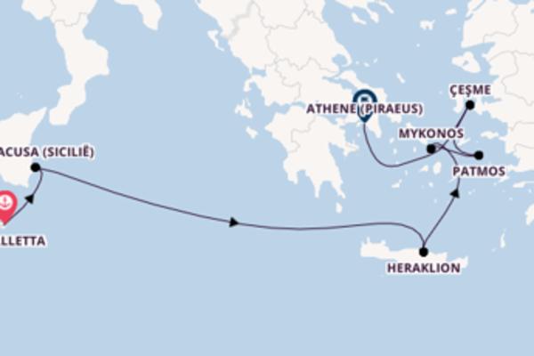Cruise naar Athene (Piraeus) via Siracusa (Sicilië)