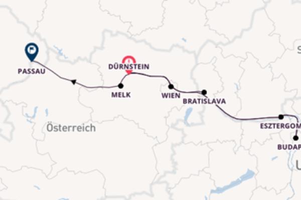 Herrliche Kreuzfahrt über Esztergom ab Dürnstein