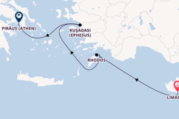 Wunderbare Kreuzfahrt über Rhodos nach Piräus (Athen)