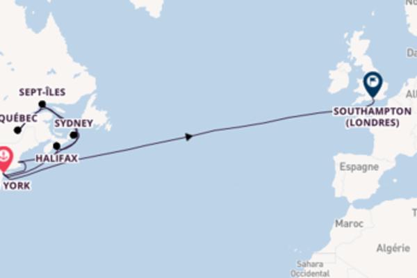 Saguenay depuis New York pour une croisière de 22 jours