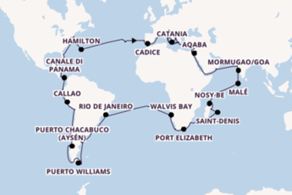 Crociera di 127 giorni a bordo di Costa Deliziosa
