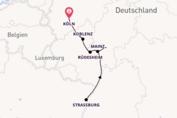 Einmalige Kreuzfahrt über Straßburg ab Köln