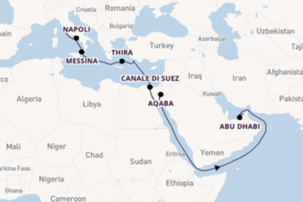 Naviga dal Mediterraneo fino a Dubai