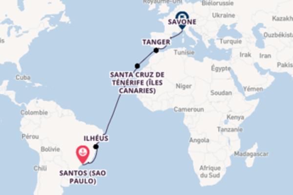 20 jours de navigation à bord du bateau Costa Fascinosa depuis Santos