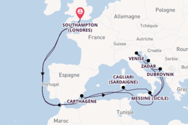 Zadar, depuis Southampton (Londres) à bord du bateau Aurora