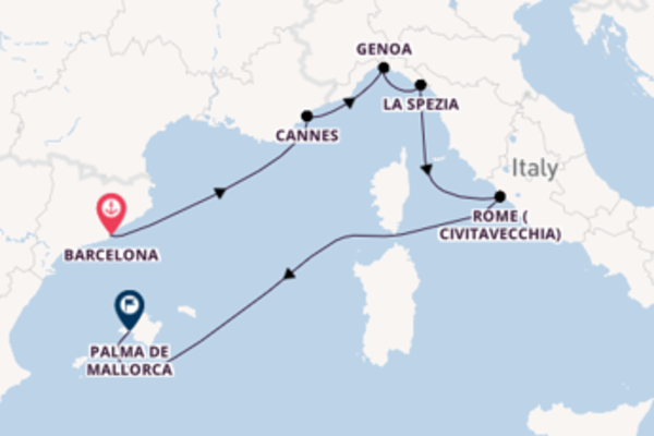 Expedition from Barcelona with the MSC Grandiosa