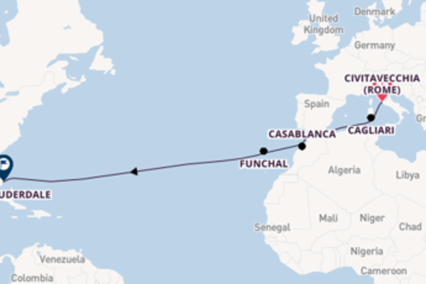 15-daagse cruise met de Island Princess vanuit Civitavecchia (Rome)