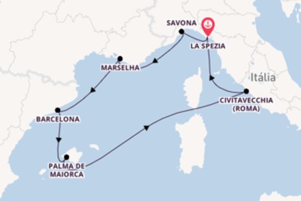 A bordo do Costa Smeralda em um cruzeiro de 8 dias