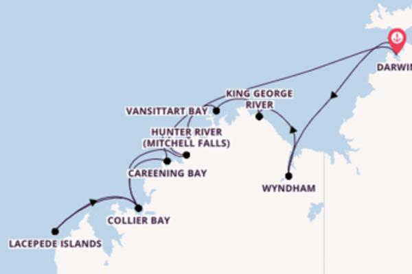 Geniet van een 13-daagse cruise naar Darwin